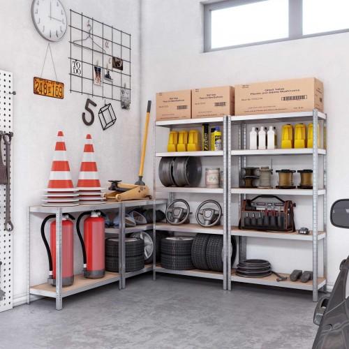 175 kg pro Ablage verst/ärktes Stahlgestell bis 875 kg belastbar verstellbare Ablagen 2er Set 180 x 90 x 40 cm SONGMICS Lagerregale mit 5 Regalb/öden Regalsystem Silber GLR040E02