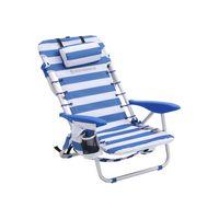 Strandstuhl mit Kissen Blau-Weiß