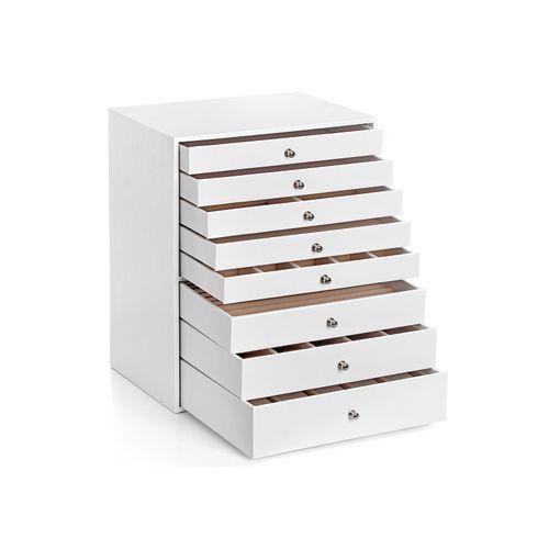 Schmuckkasten 8 Schubladen Weiß