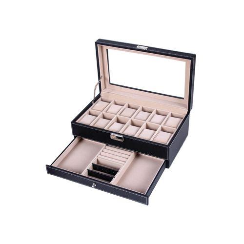 Uhrenbox für 12 Uhren mit Schmuckfach