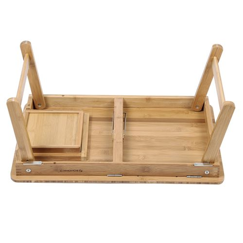 Neigungswinkel verstellbar Betttisch aus Bambus mit Schublade B x H x T 55 x 23 x 35 cm LLD008 SONGMICS Klappbarer Laptoptisch Frühstücktisch für Sofa oder Bett