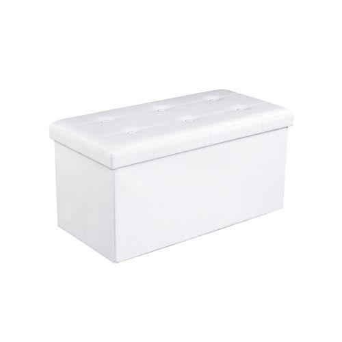Sitztruhe 76 cm Kunstleder Weiß
