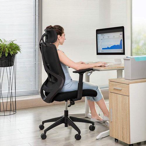 Leinenimitat SONGMICS B/ürostuhl Stahlgestell bequemer Schreibtischstuhl Homeoffice atmungsaktiv bis 120 kg belastbar grau OBG019G01 h/öhenverstellbarer Computerstuhl B/üro