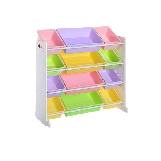 Spielzeugregal mit farbigen Boxen