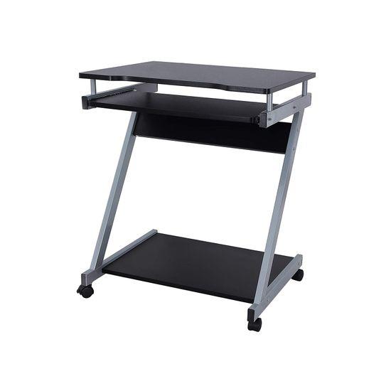 Mobiler Schreibtisch Z-Form Schwarz