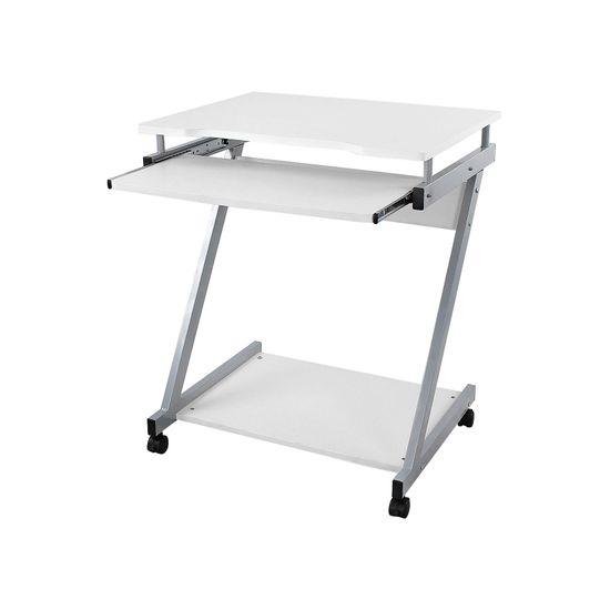 Mobiler Schreibtisch Z-Form Weiß