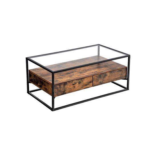 Industrie-Design Couchtisch Glas