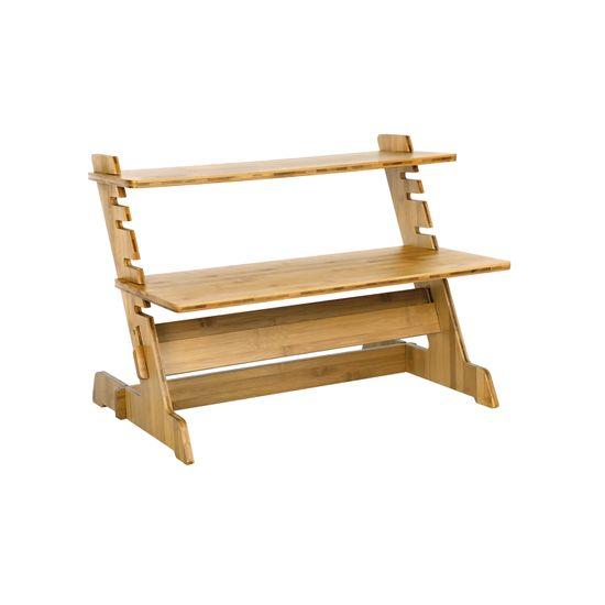 Sitz-Steh-Schreibtisch Bambus