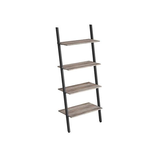 Greige 4-Tier Leaning Storage Ladder Shelves