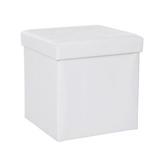 Kleiner Sitzwürfel  Kunstleder Weiß