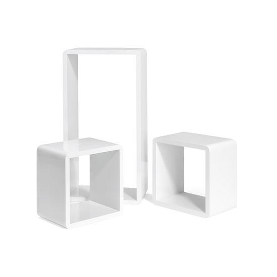 Würfelförmige Wandregale 3er Set Weiß